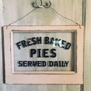 World market fresh baked pies glass sign